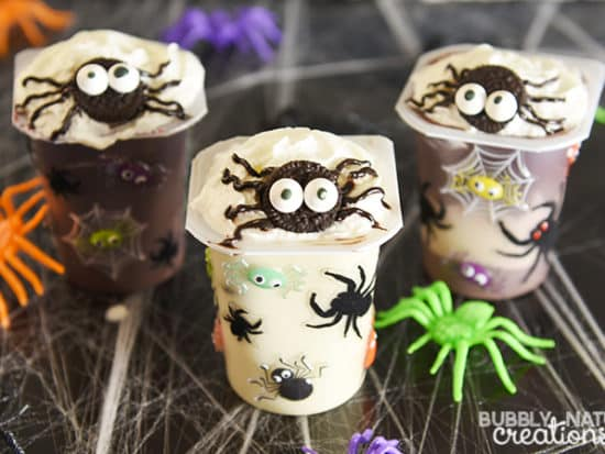 Spider Infested Snack Pack Pudding Cups