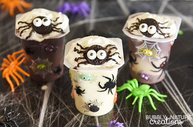 Spider Infested Snack Pack Pudding Cups!! Super cute Halloween snack and party idea!!!
