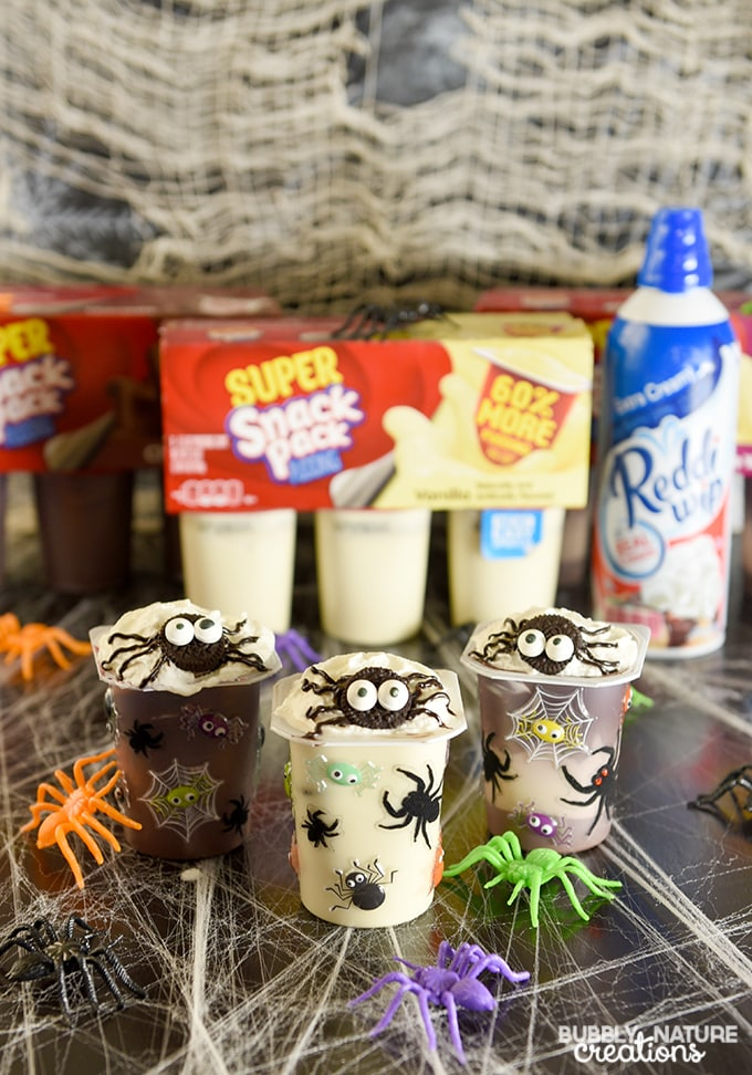 Spider Infested Snack Pack Pudding Cups.!! Super cute Halloween snack and party idea!!!