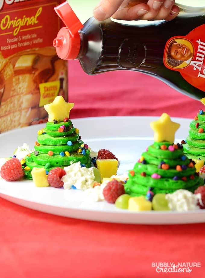 Christmas Tree Pancake Stacks flavored with Almond!