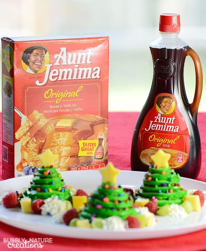 Christmas Tree Pancake Stacks flavored with Almond!!