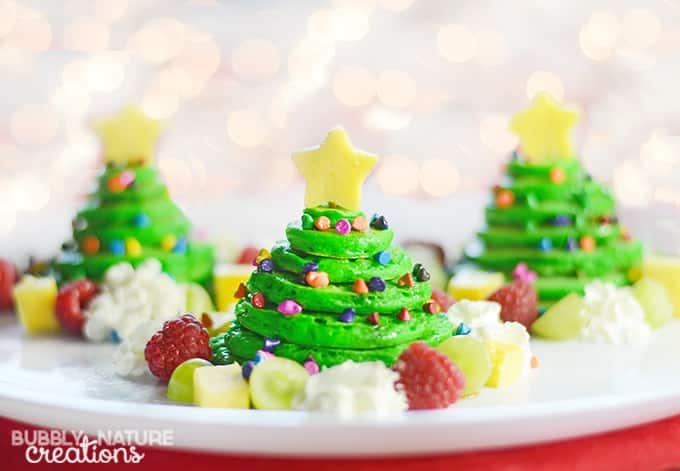 Christmas Tree Pancake Stacks with Almond flavored panackes!!!