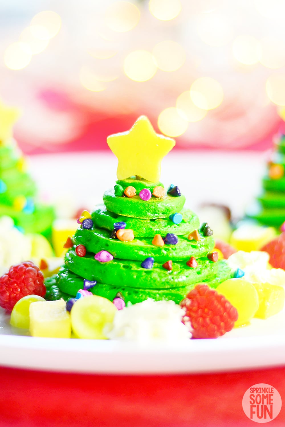 Christmas Tree Pancakes stacked on plate