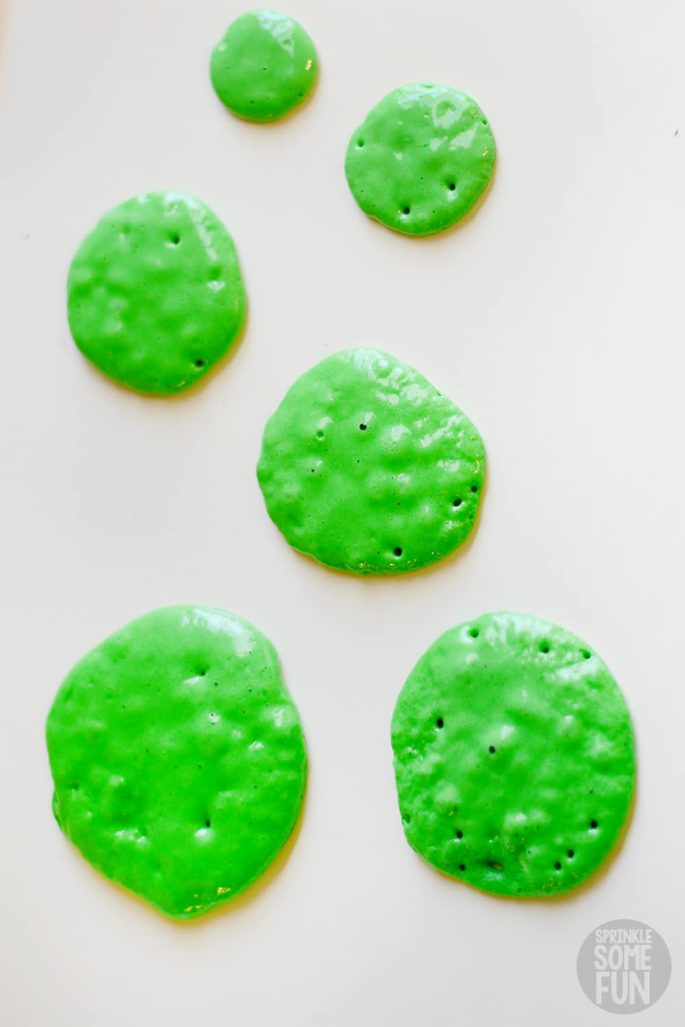 Green pancakes for Christmas Tree Pancakes