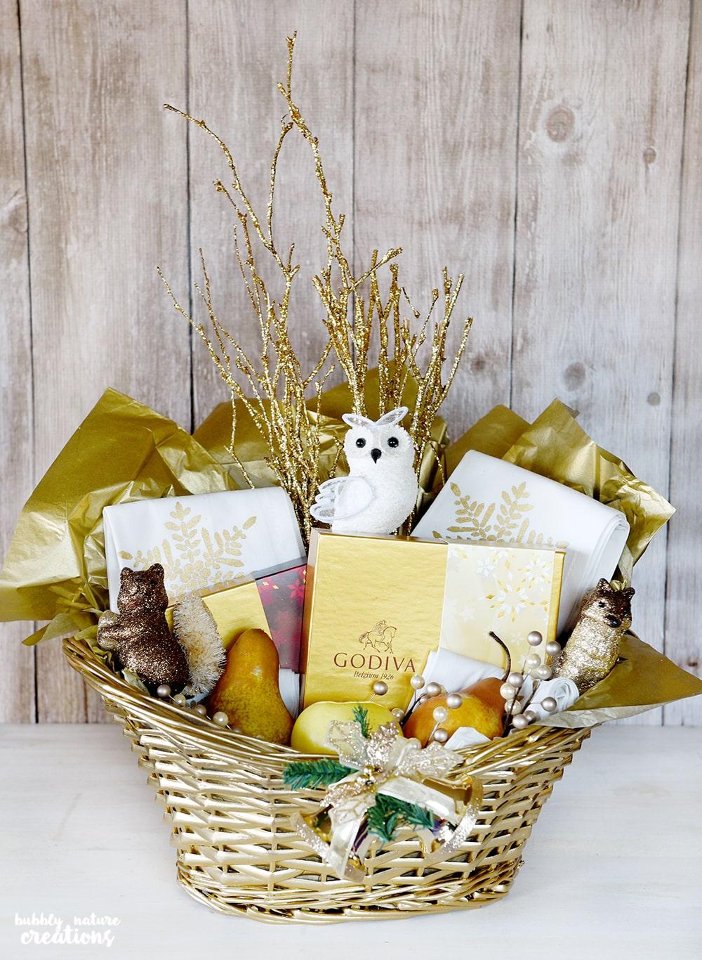 Gold Gift Basket w Godiva Chocolates!