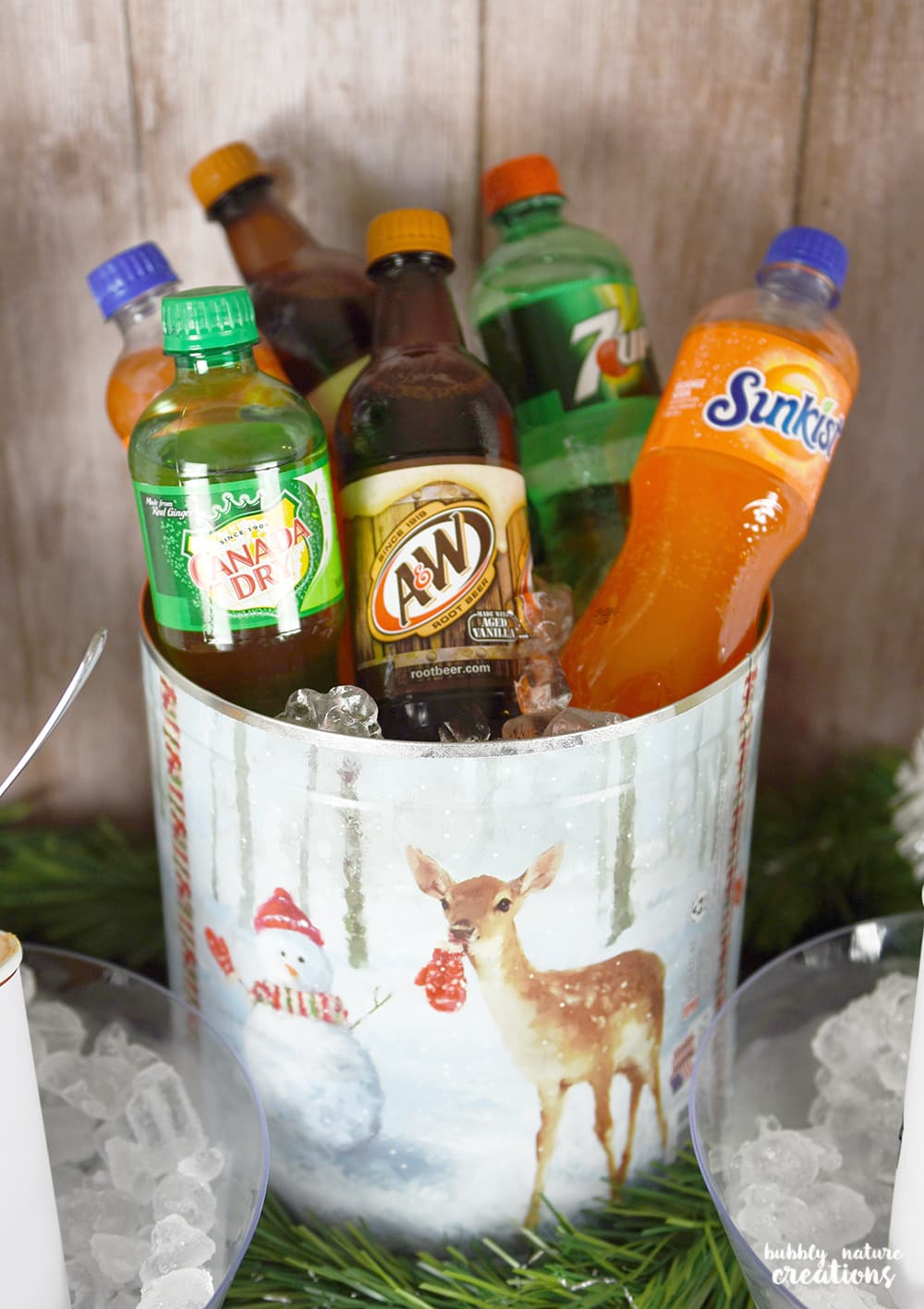 Holiday Soda Float Station! I love this idea to take a popcorn tin and repurpose it into an ice bucket for parties!