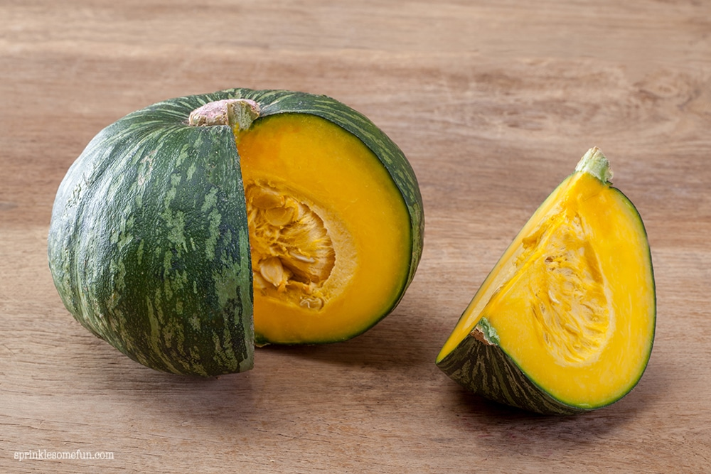 green Kabucha Squash cut open