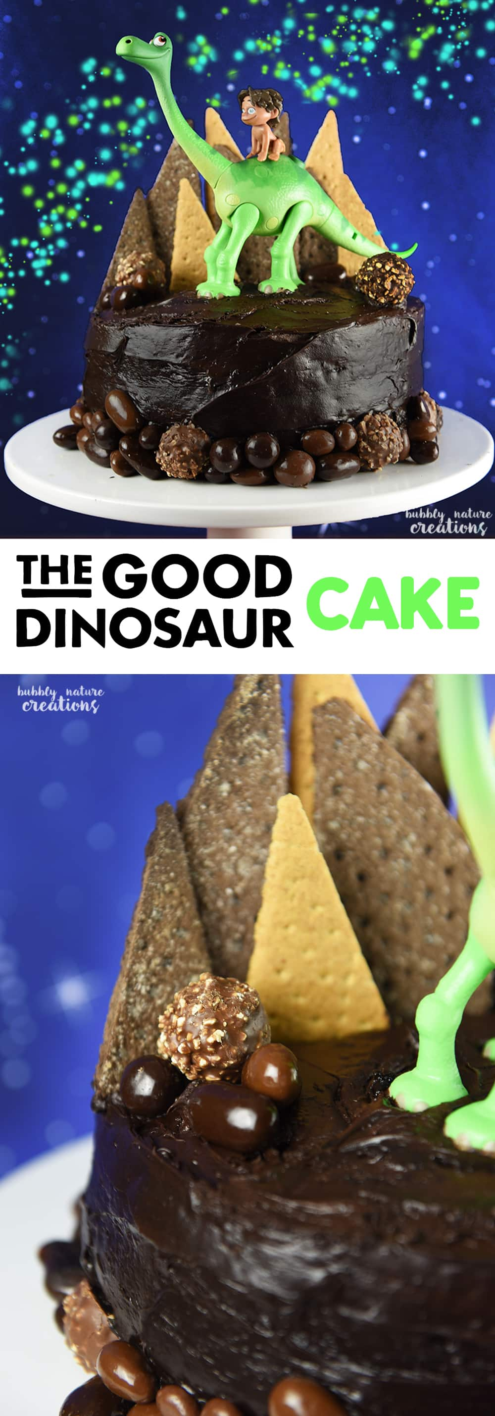 The Good Dinosaur Cake is easy to make and does not require any special tools for decorating!  Perfect for any Disney The Good Dinosaur Party!