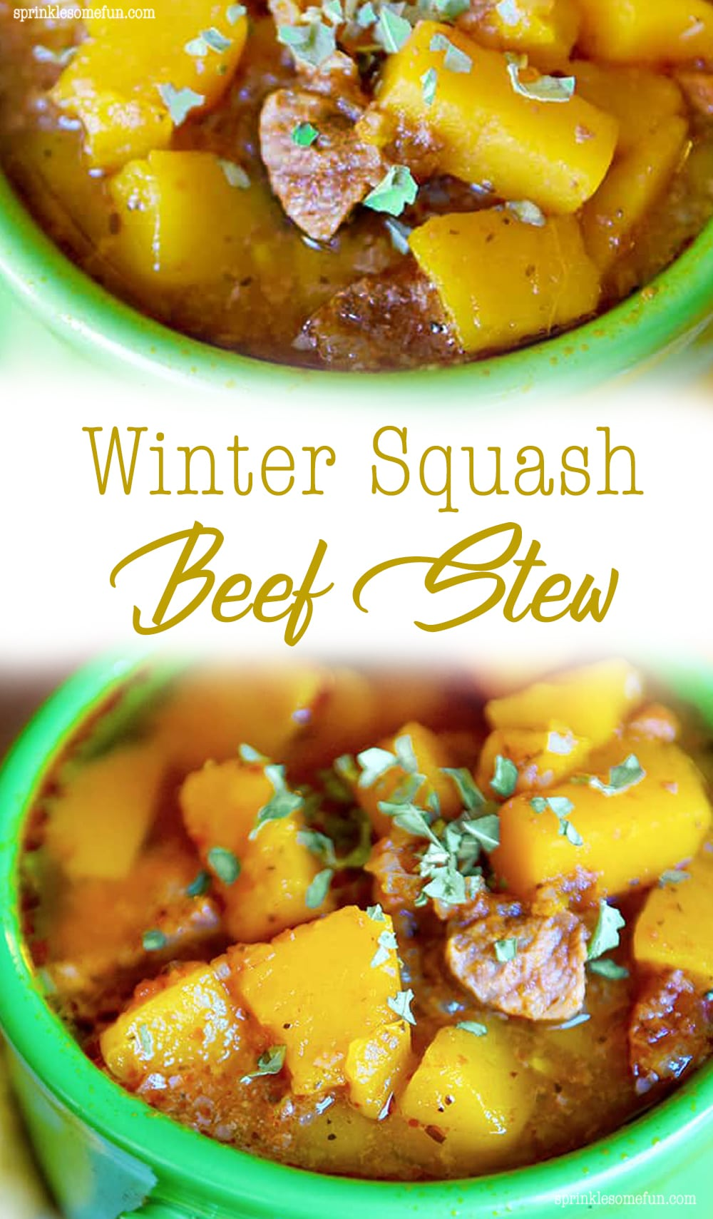 Winter Squash Beef Stew is a rich and hearty beef stew made with a delicately sweet Kabocha squash and Italian herbs.  This stew is perfect for a cold night when you need to warm up with a comforting meal. #comfortfood #beefstew #wintersquash #squashstew #squash #Kabocha #Japanesepumpkin #stew #soup #wintermeal #hearty #warming