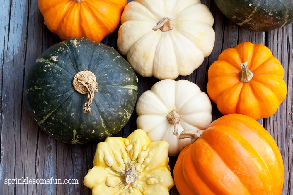 Autumn pumpkins on wooden board