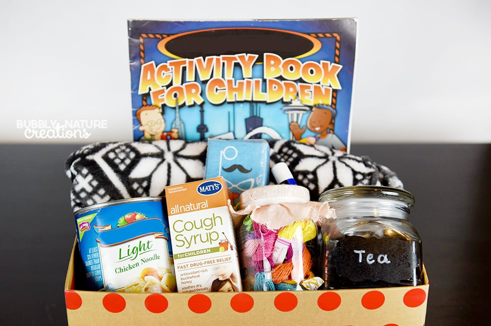 Cold Care Kit for Kids! These are some great ideas to keep on hand for when your child gets sick with a cold. All natural remedies!