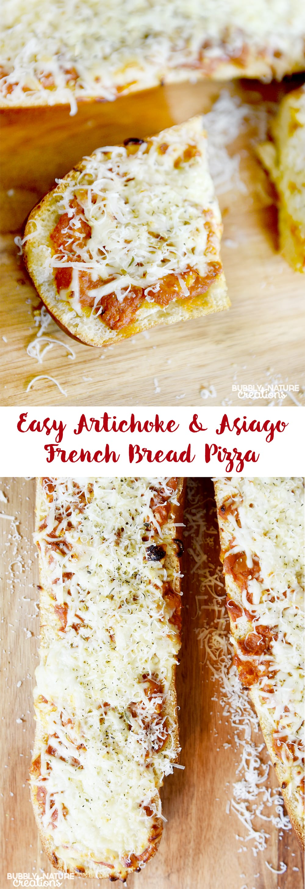 Easy Artichoke and Asiago French Bread Pizza!
