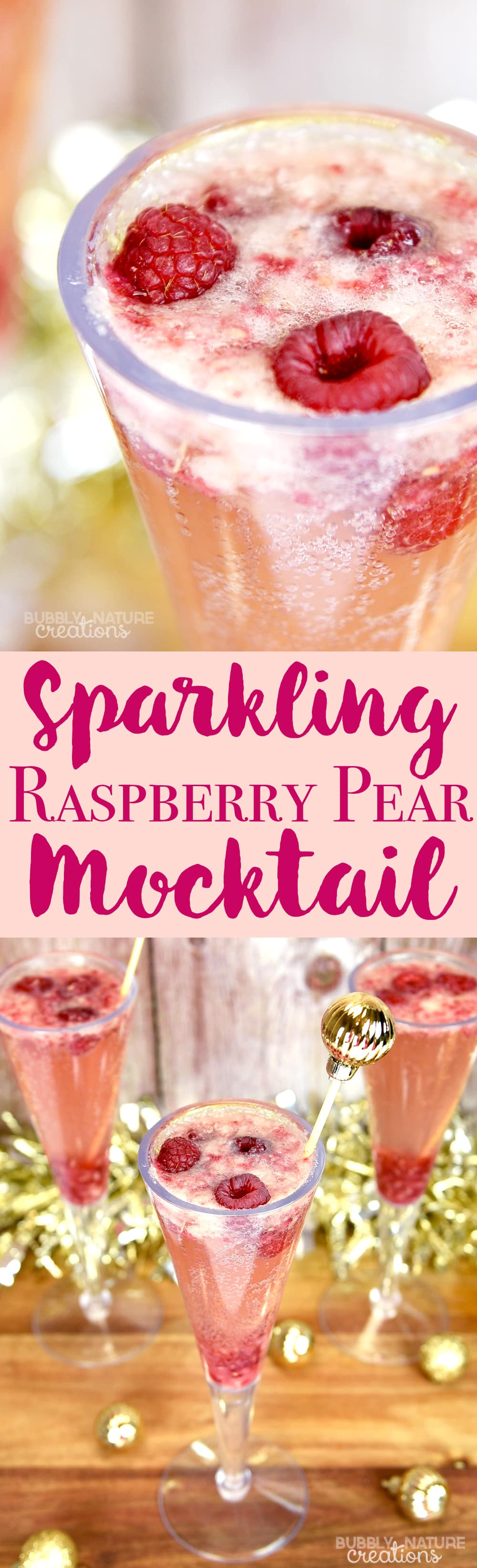 Sparkling Raspberry Pear Mocktail! Delicious drink for a holiday party or anytime!