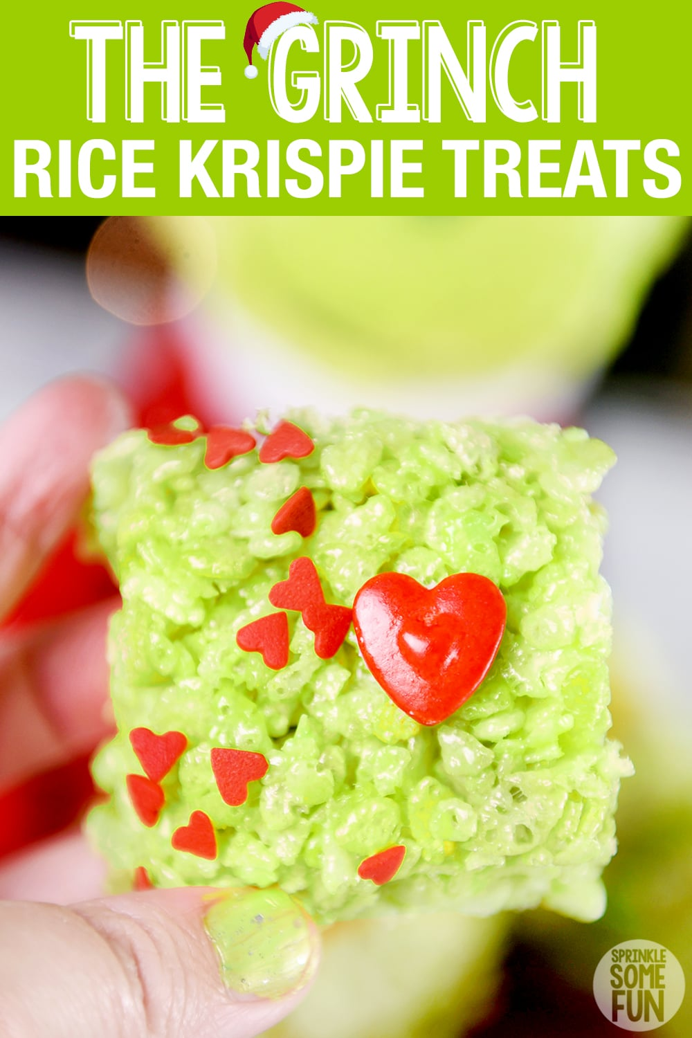 Grinch Rice Krispie Treats ⋆ Easy Grinch Dessert ⋆ Sprinkle Some Fun