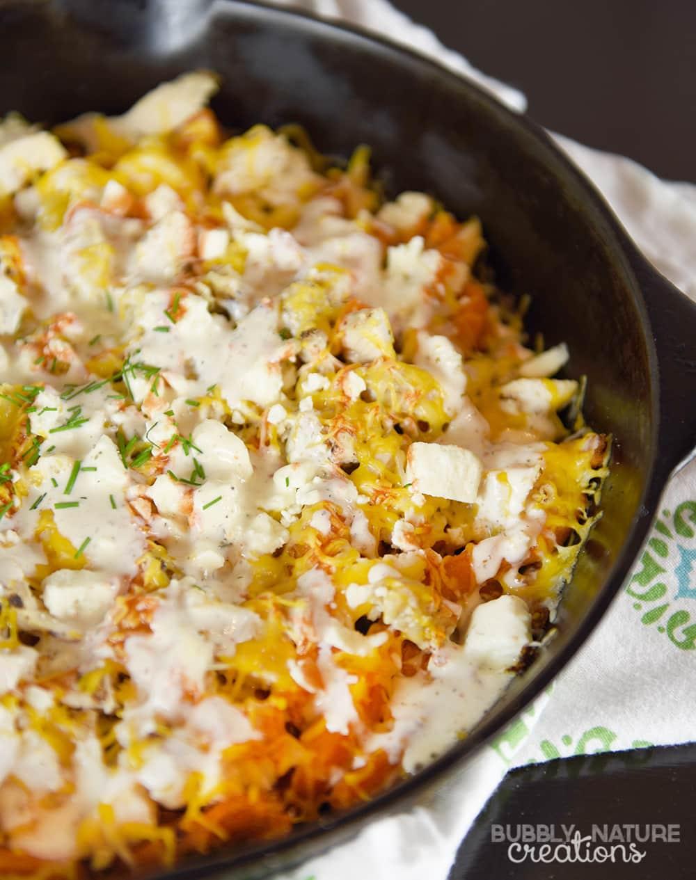 Buffalo Chicken Loaded Sweet Potato Fries - Sprinkle Some Fun