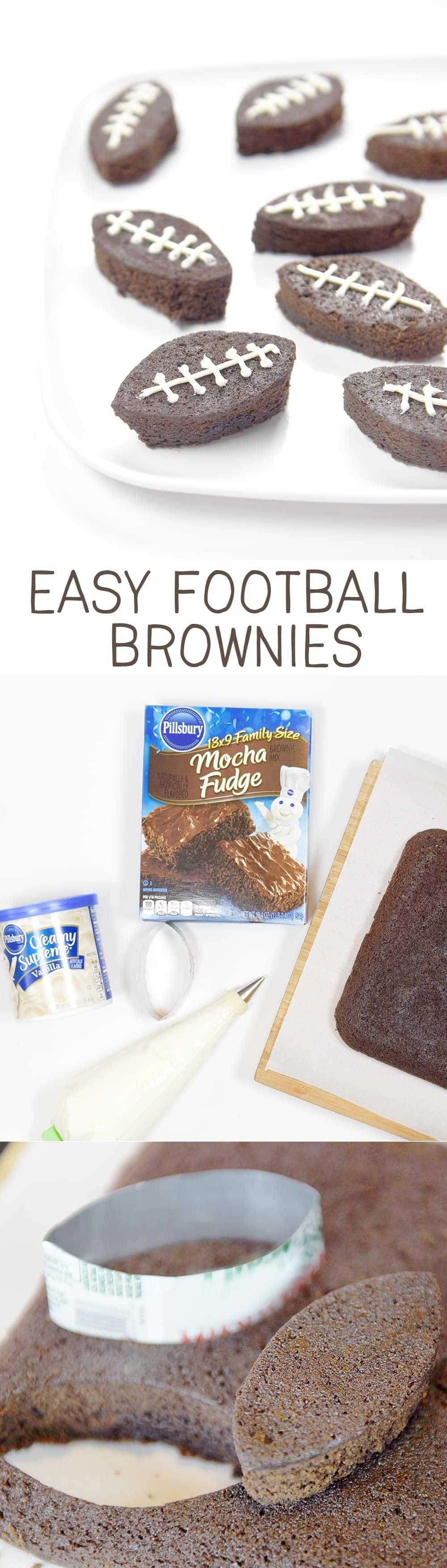 Easy Football Brownies for gameday!!  So cute and easily made with a soda pop can as the cookie cutter!