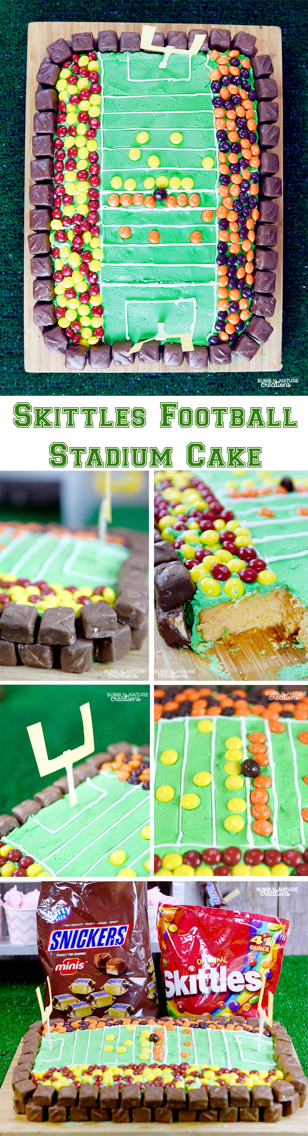 Skittles Football Stadium Cake! Fun and easy cake with a fruity cake that goes well with skittles!