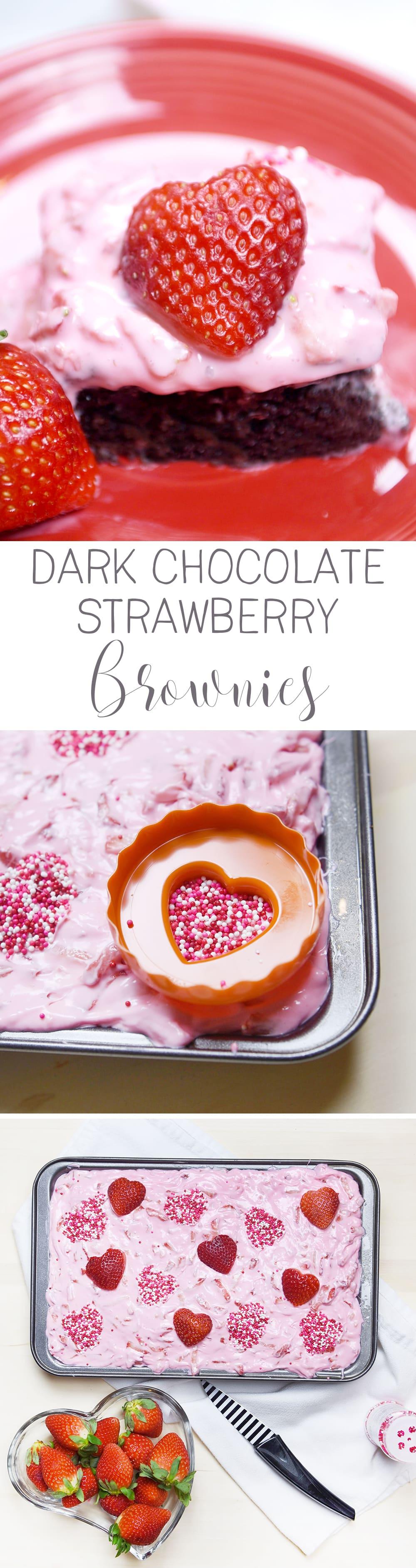 Dark Chocolate Strawberry Brownies! ! Yummy Valentine dessert idea!