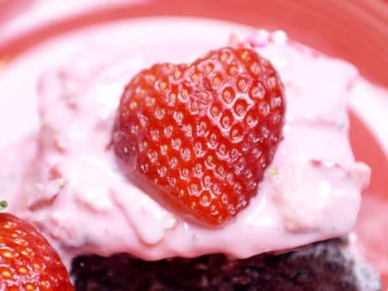 Dark Chocolate Strawberry Brownies for Valentine's Day