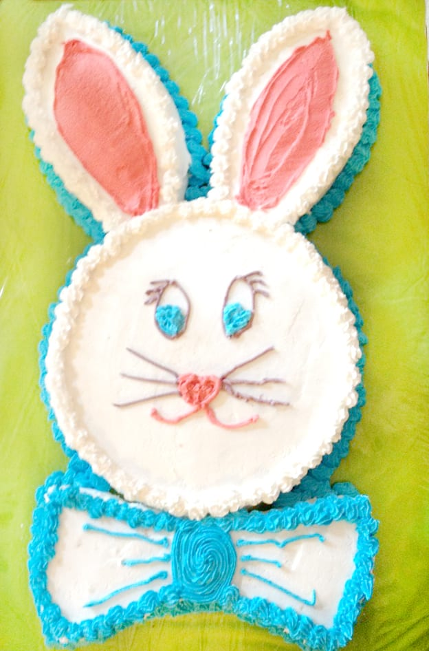 Easy Bunny Cake!! Use 2 8 inch round cakes to make this super simple cake for Easter! So fun!