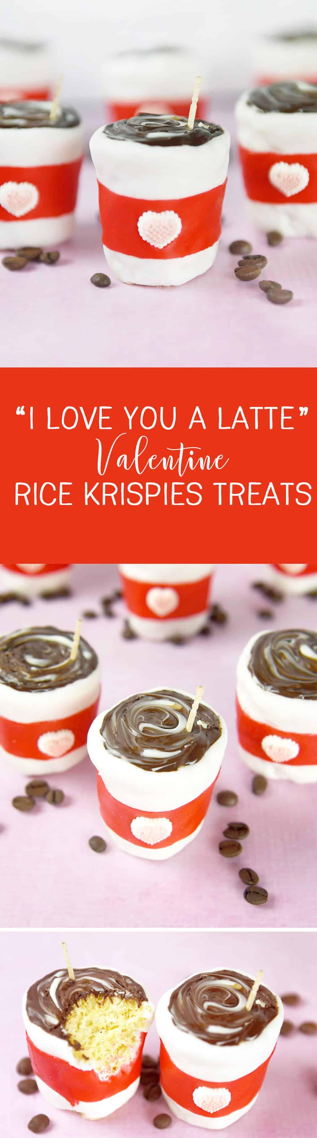 I Love You A Latte Valentine Rice Krispies Treats! Such a cute Valentine treat idea!
