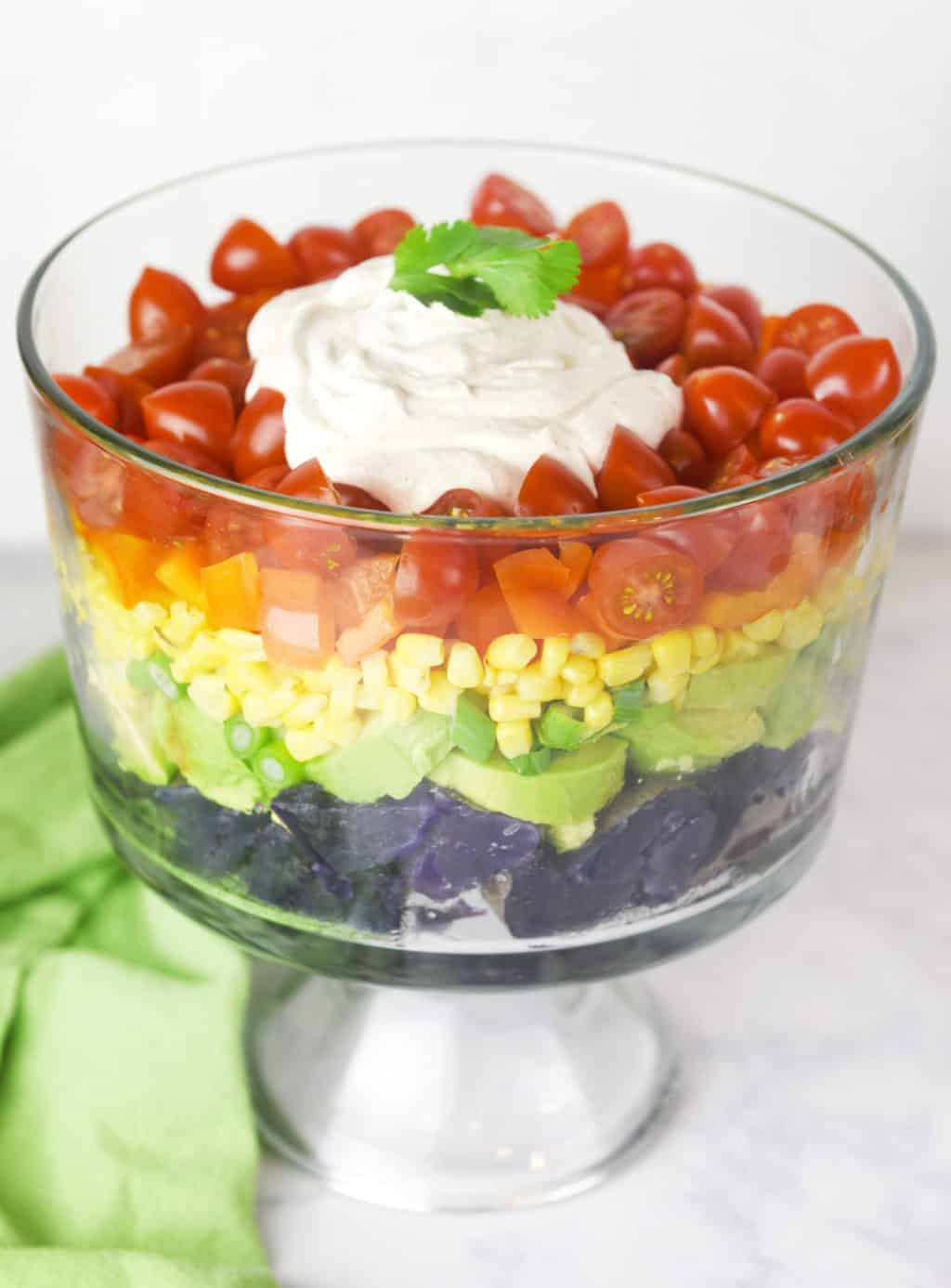 Rainbow Potato Salad! This salad has a southwest flair and is perfect for St. Patrick's day or any rainbow party!
