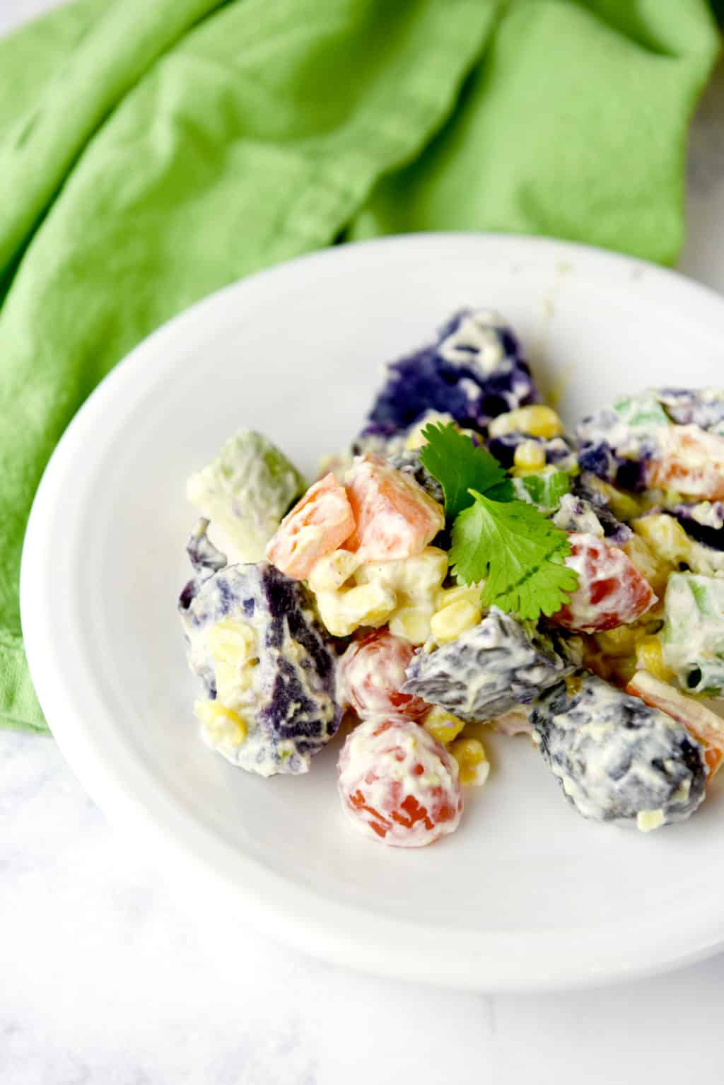 Rainbow Potato Salad!! This salad has a southwest flair and is perfect for St. Patrick's day or any rainbow party!