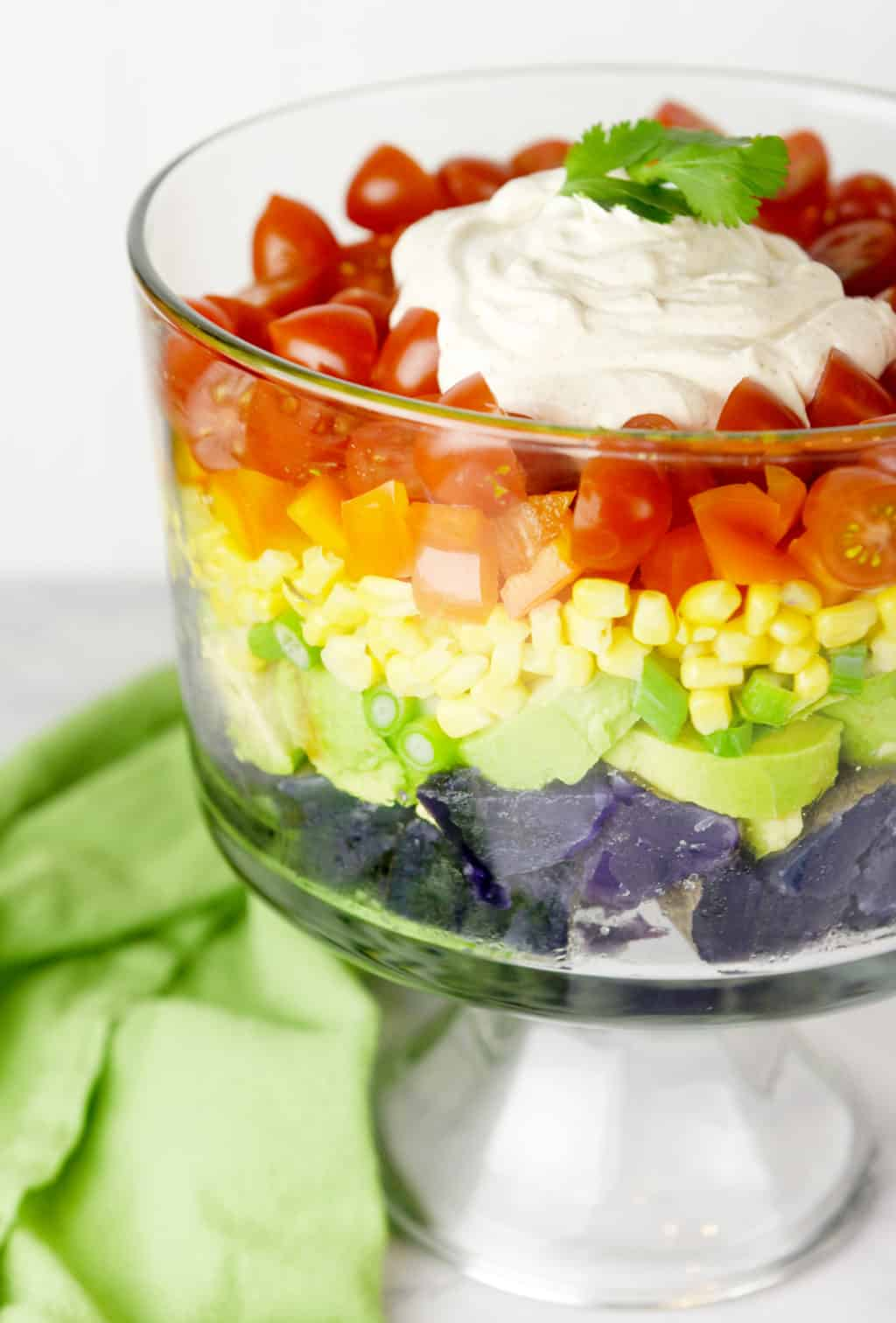 Rainbow Potato Salad!!! This salad has a southwest flair and is perfect for St. Patrick's day or any rainbow party!