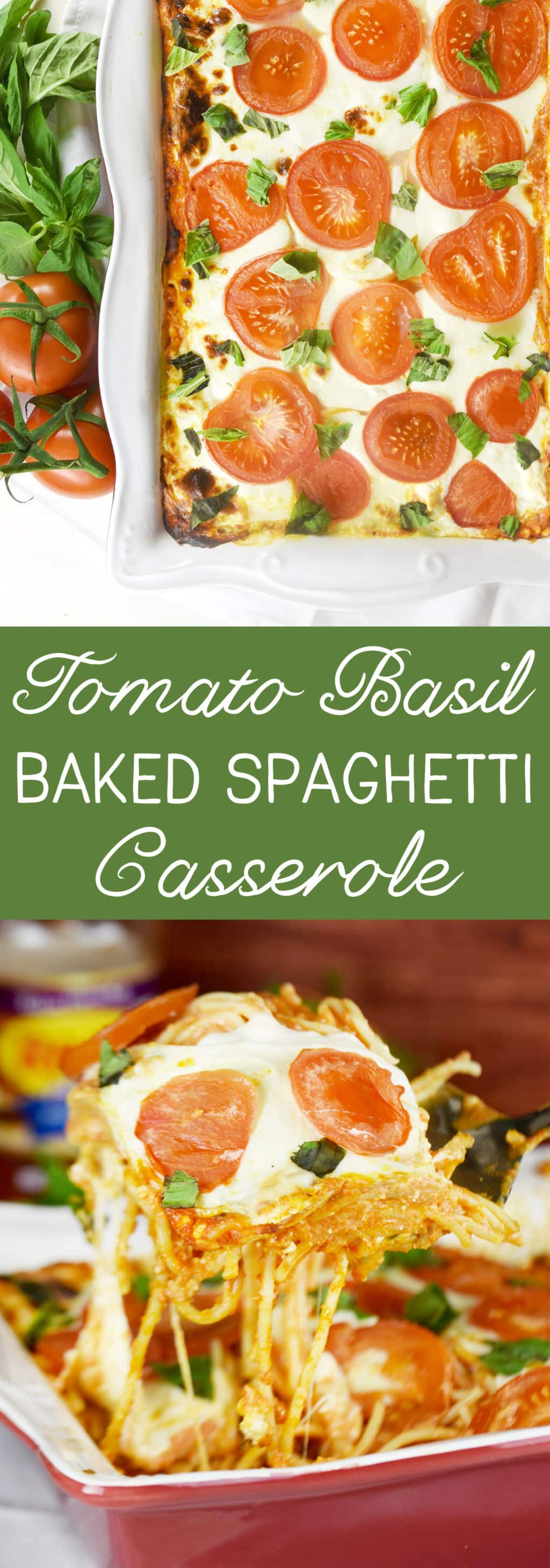 Tomato Basil Baked Spaghetti Casserole. Delicious and creamy with the fresh taste of tomatoes & basil!