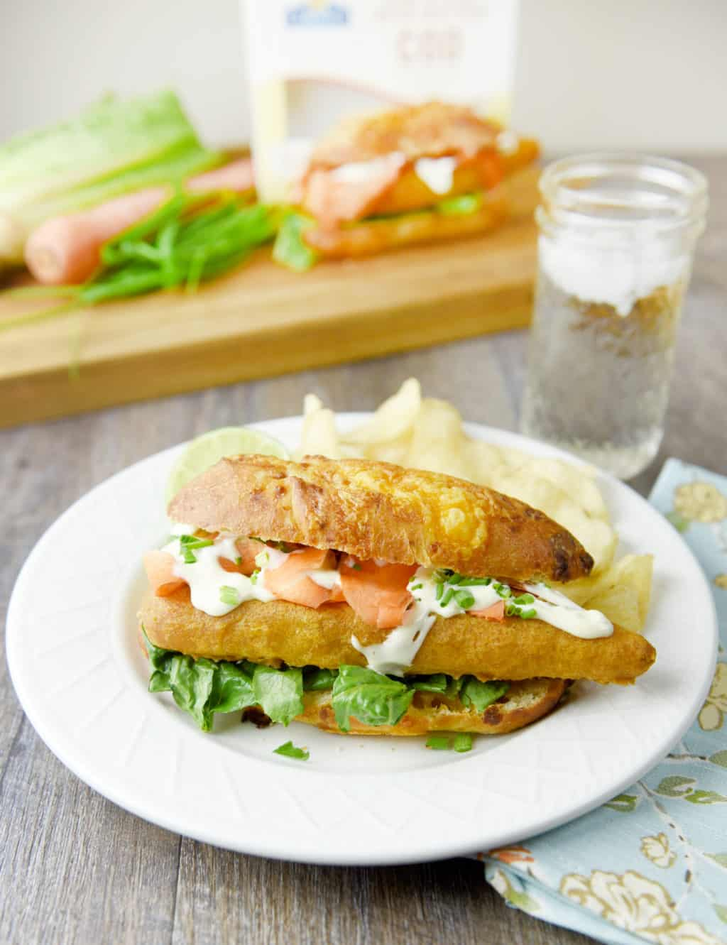 Pub-Style Beer Battered Cod Sandwich with Garlic Lime Sauce!! Delicious lunch or dinner idea