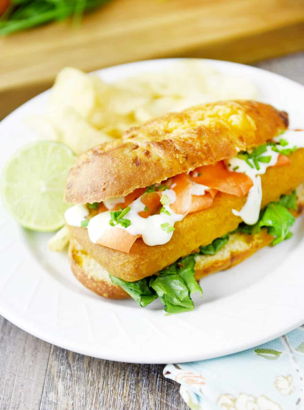 Pub-Style Beer Battered Cod Sandwich with Garlic Lime Sauce!!! Delicious lunch or dinner idea