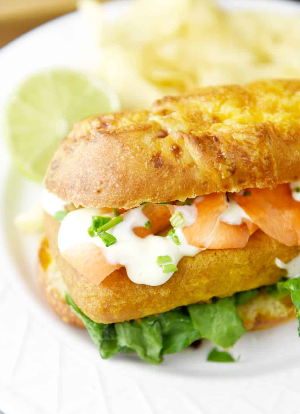 Pub-Style Beer Battered Cod Sandwich with Garlic Lime Sauce! Delicious lunch or dinner idea