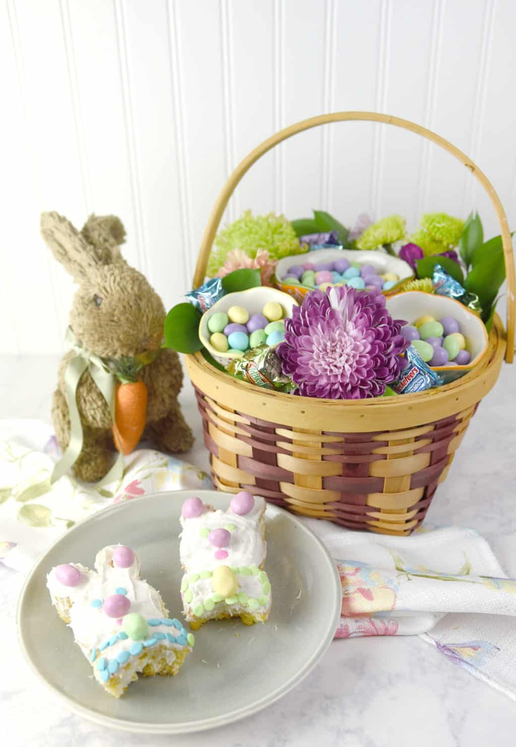 Bunny Mini Cakes and Floral Candy Basket! Such fun Easter Ideas!