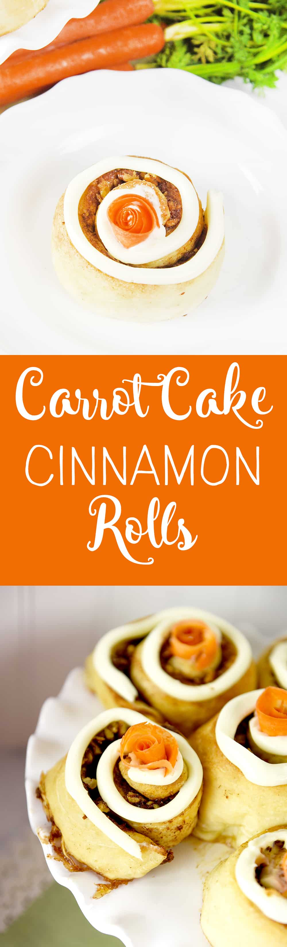 Carrot Cake Cinnamon Rolls. All the flavors of carrot cake wrapped up in a cinnamon roll!