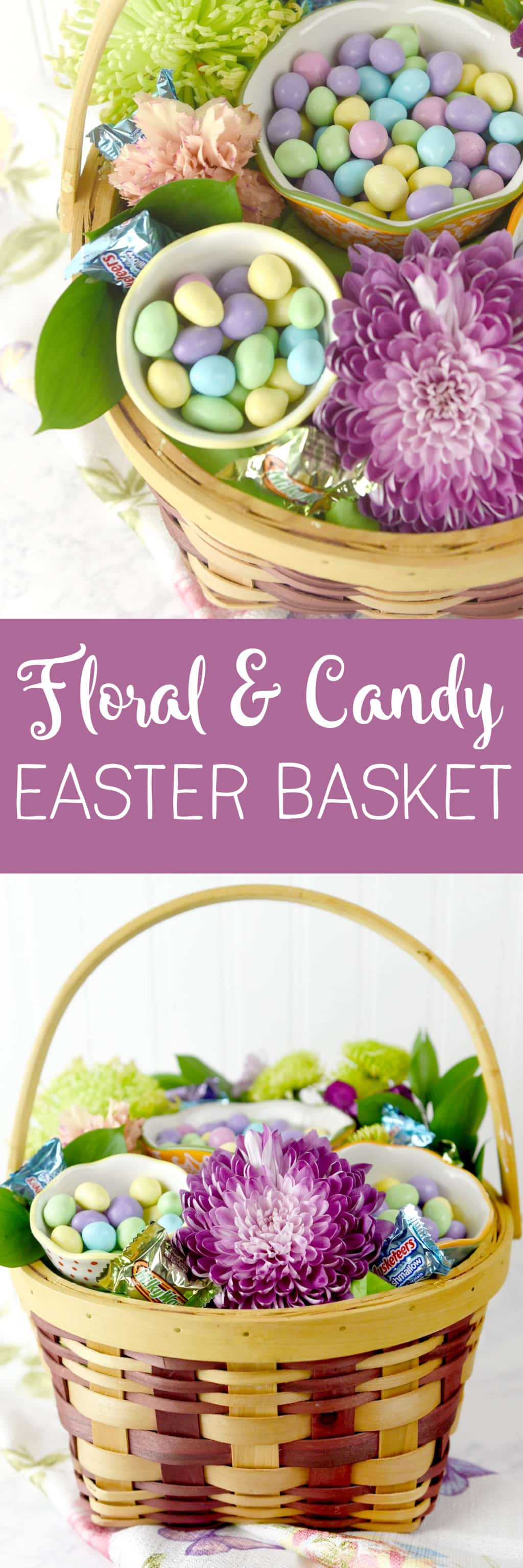 Floral & Candy Easter Basket Idea! Such a fun Easter basket or centerpiece!