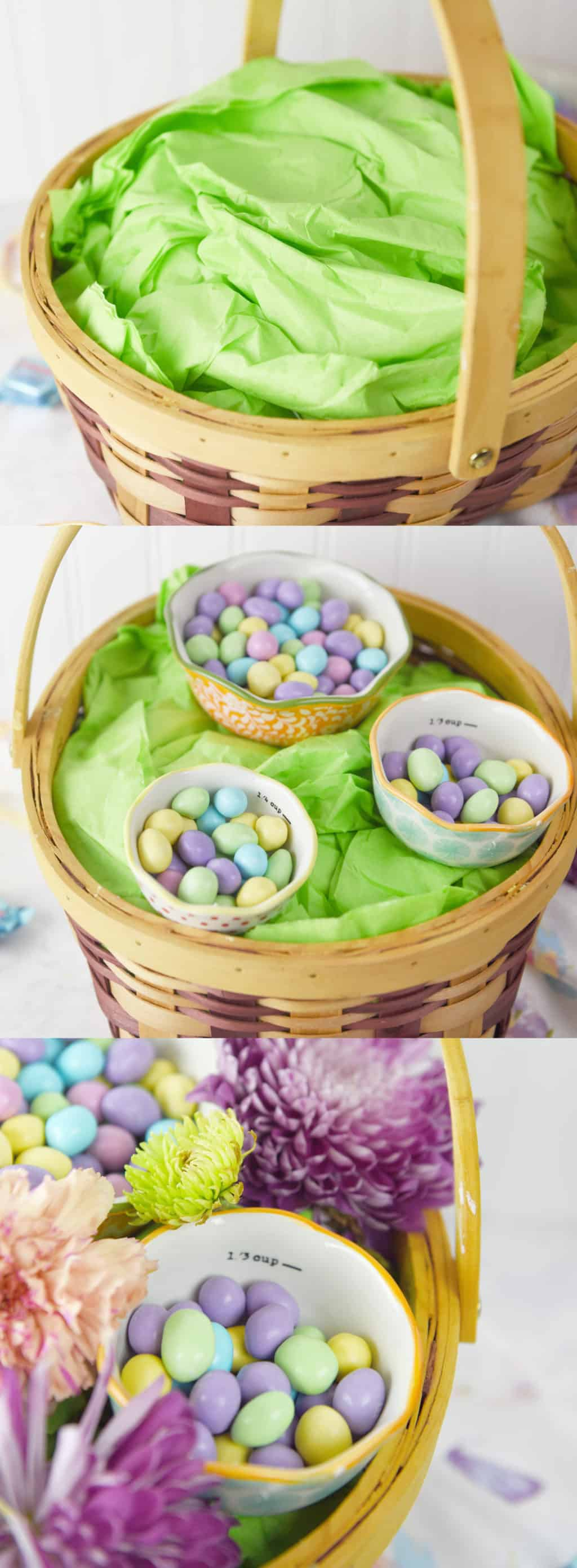 Floral & Candy Easter Basket Idea. Such a fun Easter basket or centerpiece!