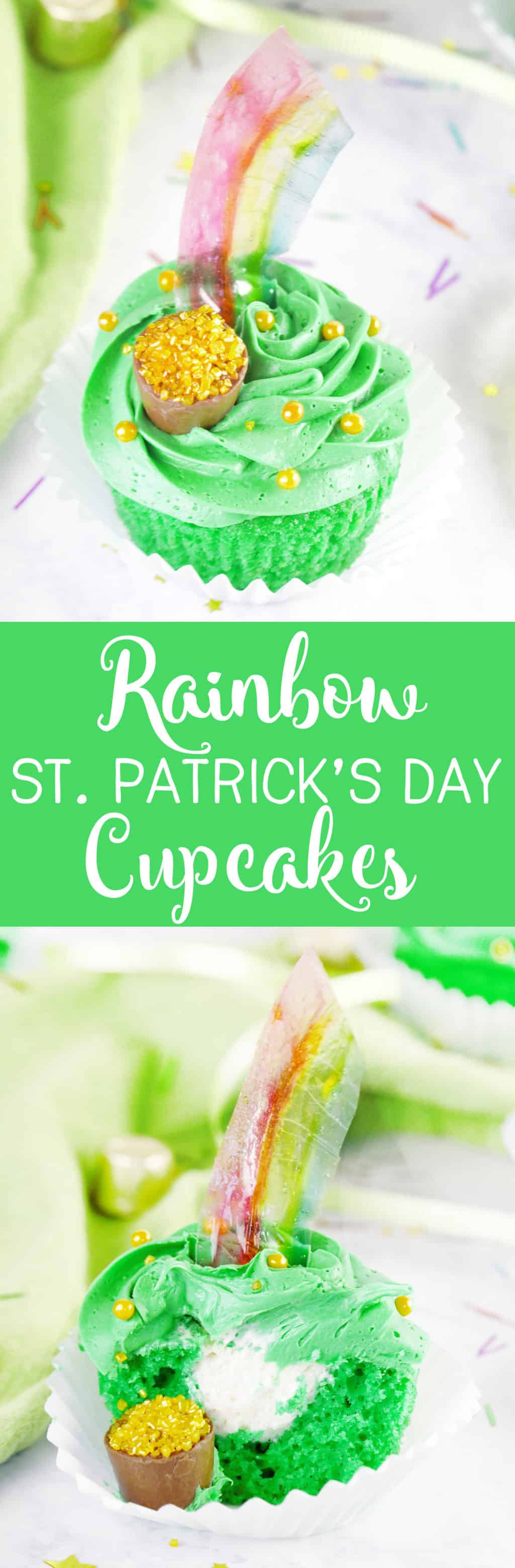Rainbow St. Patrick's Day Cupcakes with Irish Cream Filling! A yummy St. Patrick's Day treat with fun see-through rainbows!