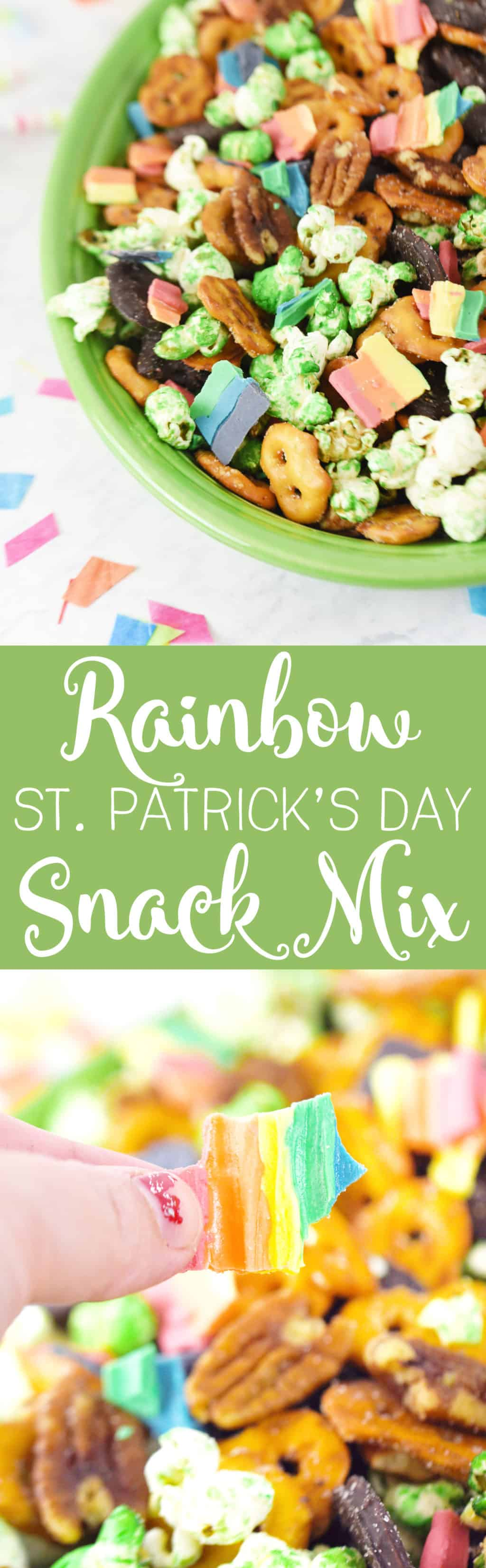 Rainbow St. Patrick's Day Snack Mix.!. Such a fun and delicous snack mix for St. Patrick's Day!