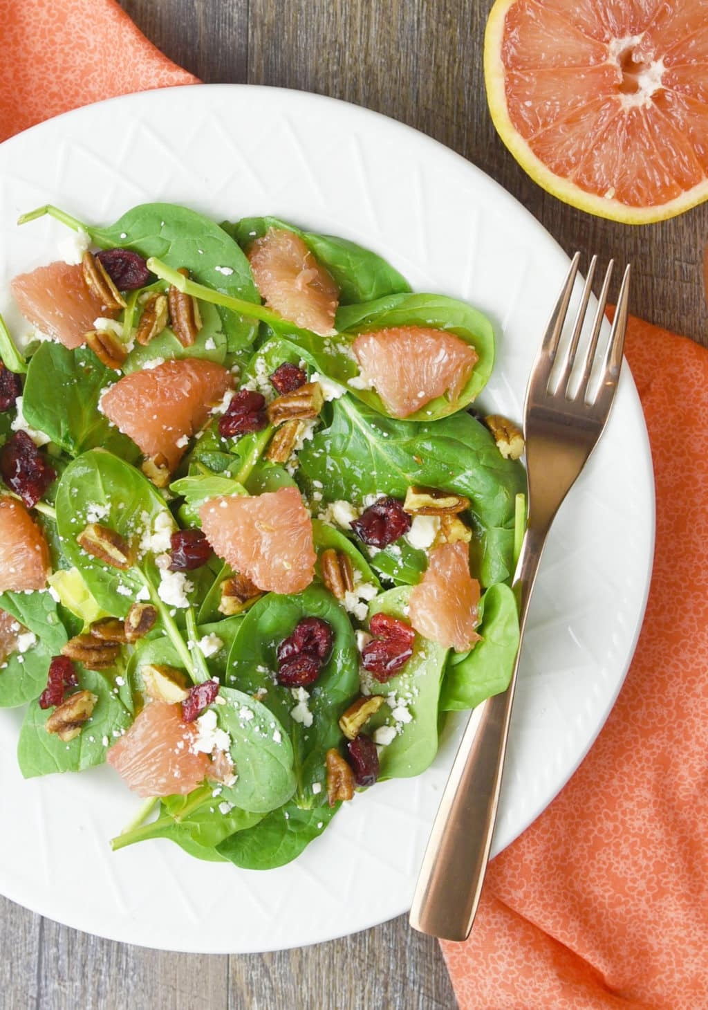 Spinach and Grapefruit Salad with Grapefruit Vinaigrette!