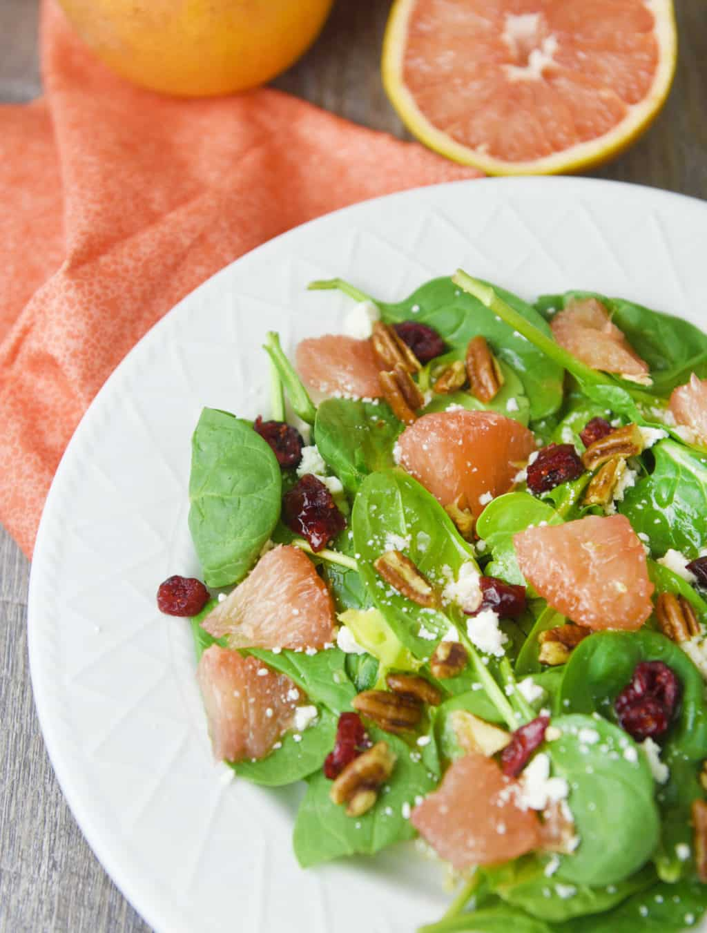 Spinach and Grapefruit Salad with Grapefruit Vinaigrette!! Sweet, tart and savory all at once!