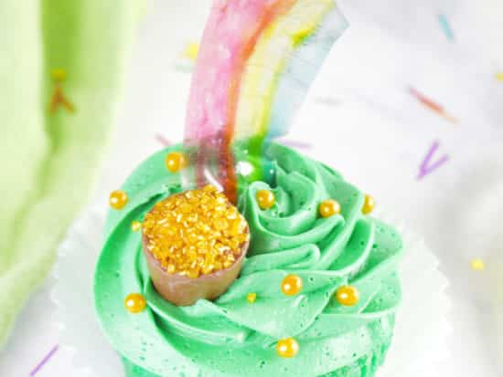 St. Patrick's Day Rainbow Cupcakes with Irish Cream Filling