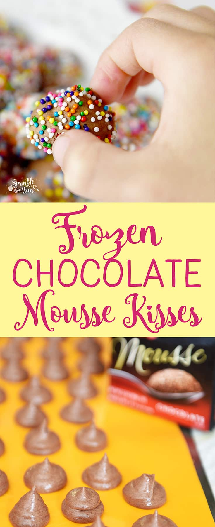 Frozen Chocolate Mousse Kisses are great to snack on.  These bite sized frozen treats are so creamy, chocolatey and sweet!