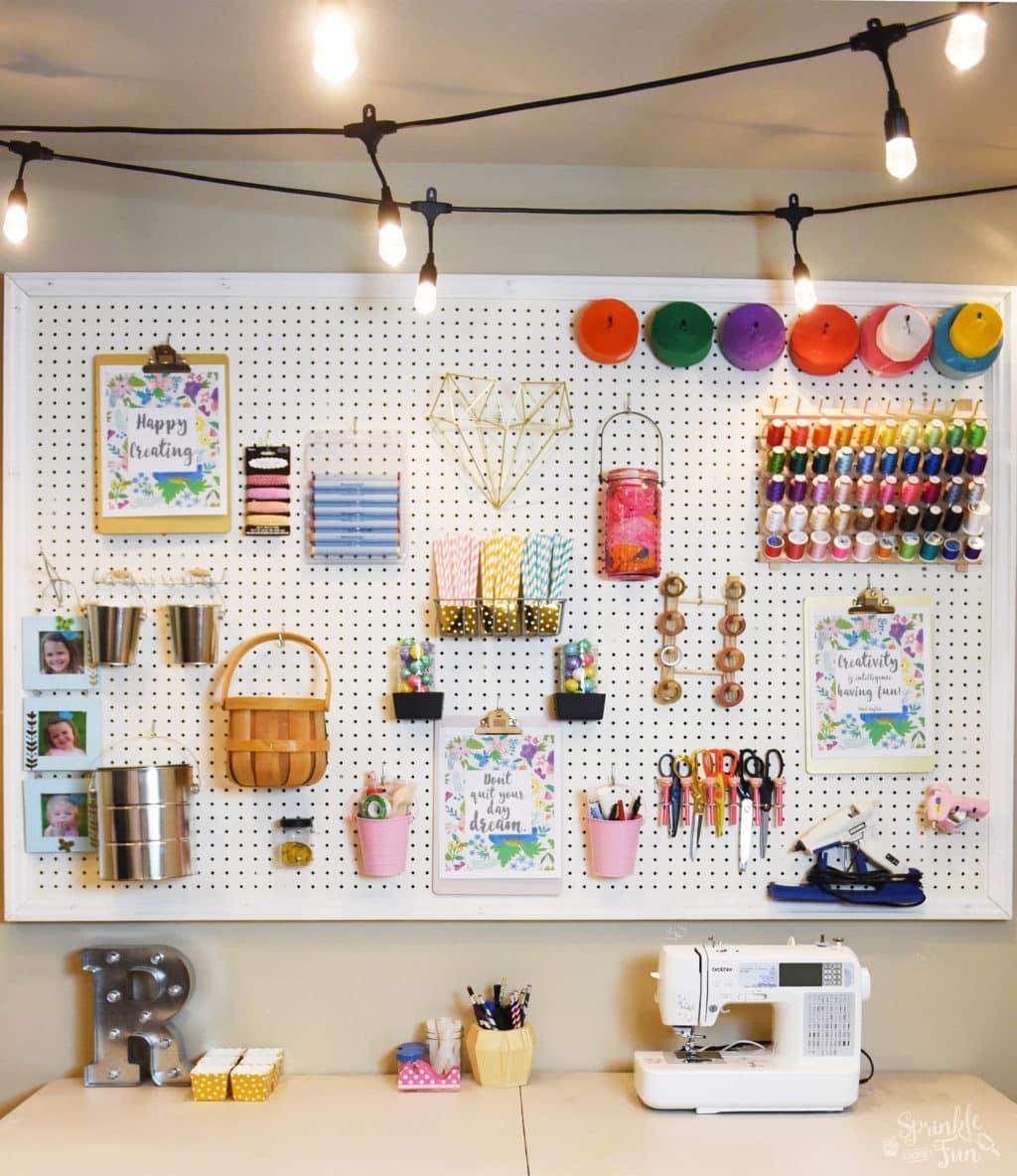 Craft Room Makeover with Café Lights