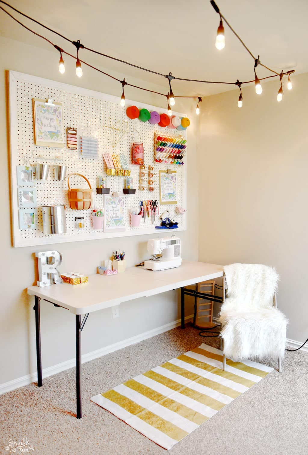 Craft Room Makeover with Café Lights.This craft room reveal is everything I dreamed of!