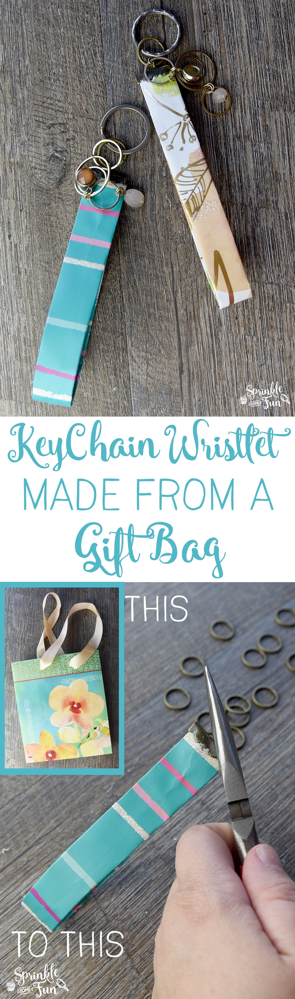 Keychain wristlet made from a gift bag! Easy tutorial for a fun Mother's day gift!