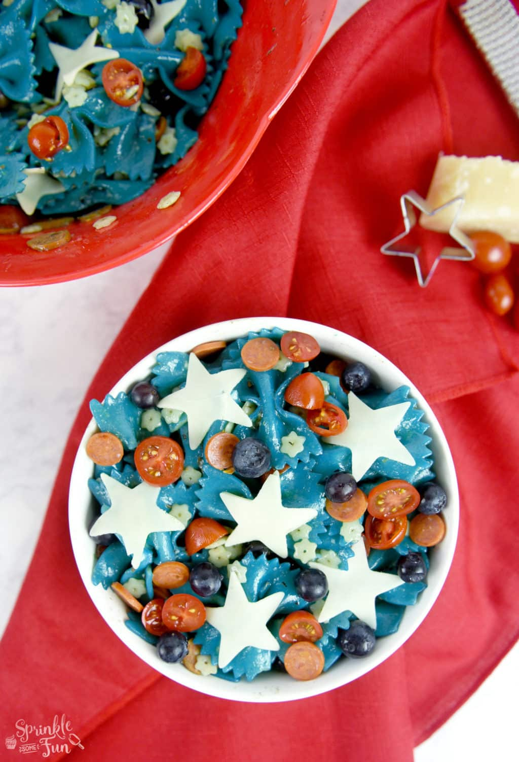 Patriotic Pasta Salad!!! Fun side dish for a 4th of July party!