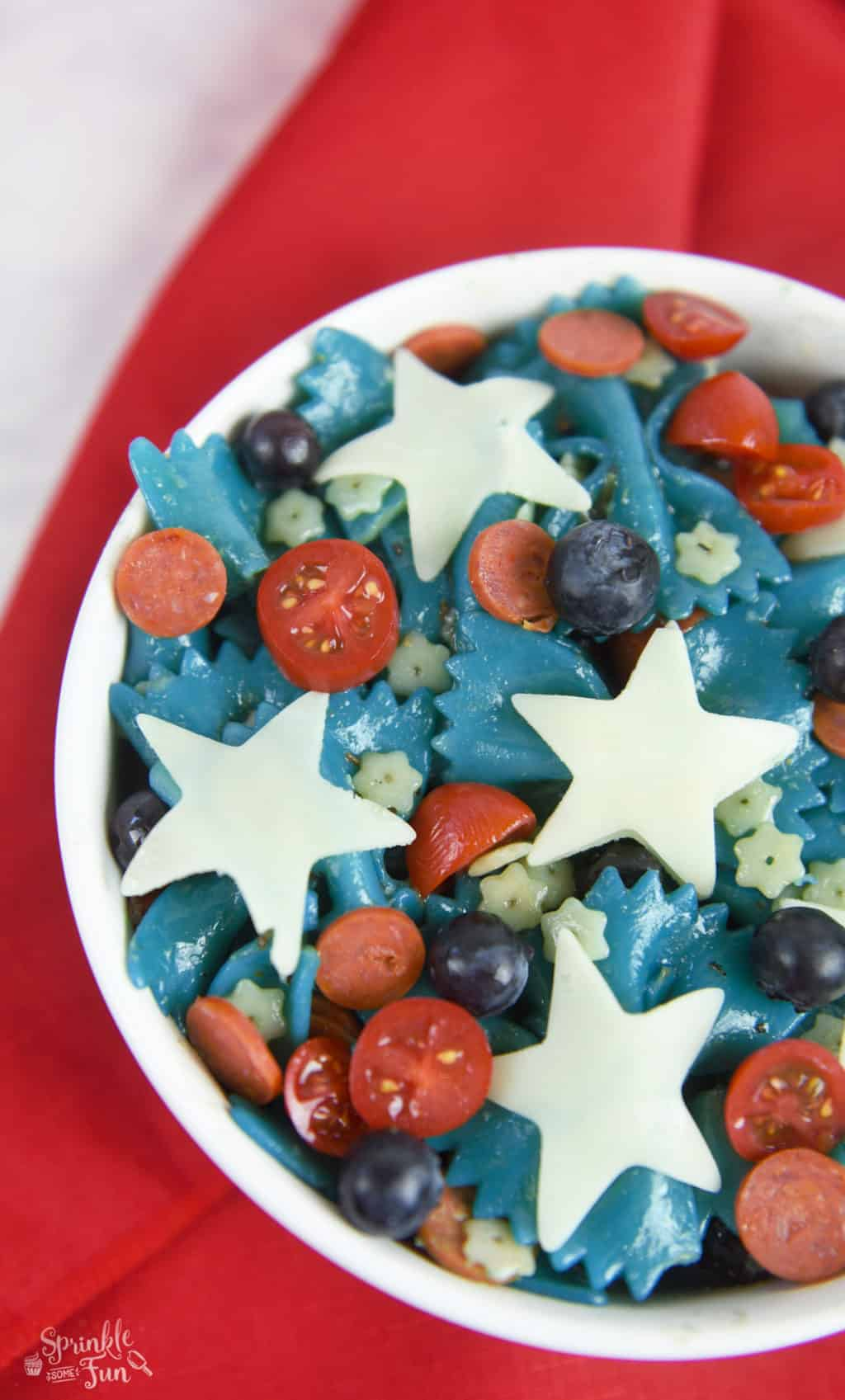 Patriotic Pasta Salad. Fun side dish for a 4th of July party!