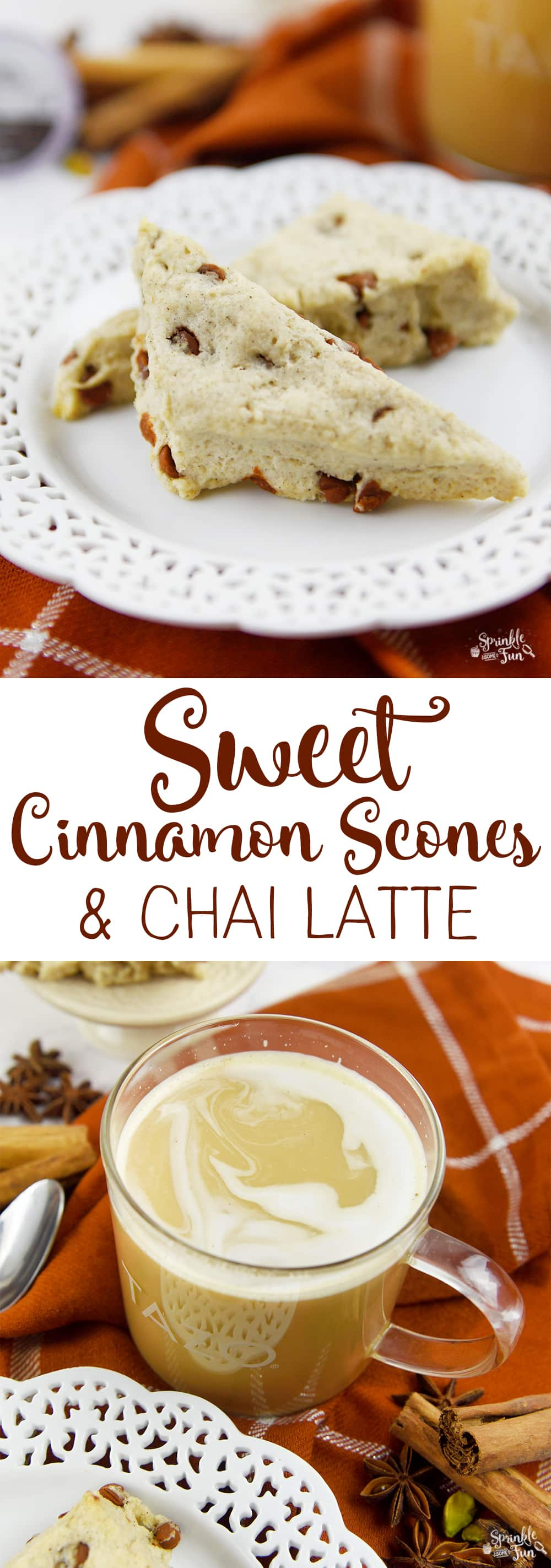 These sweet cinnamon scones are sweet and spicy just like the rich flavors that are in chai tea.  The cinnamon chips add an additional touch of flavor for these delicious scones.