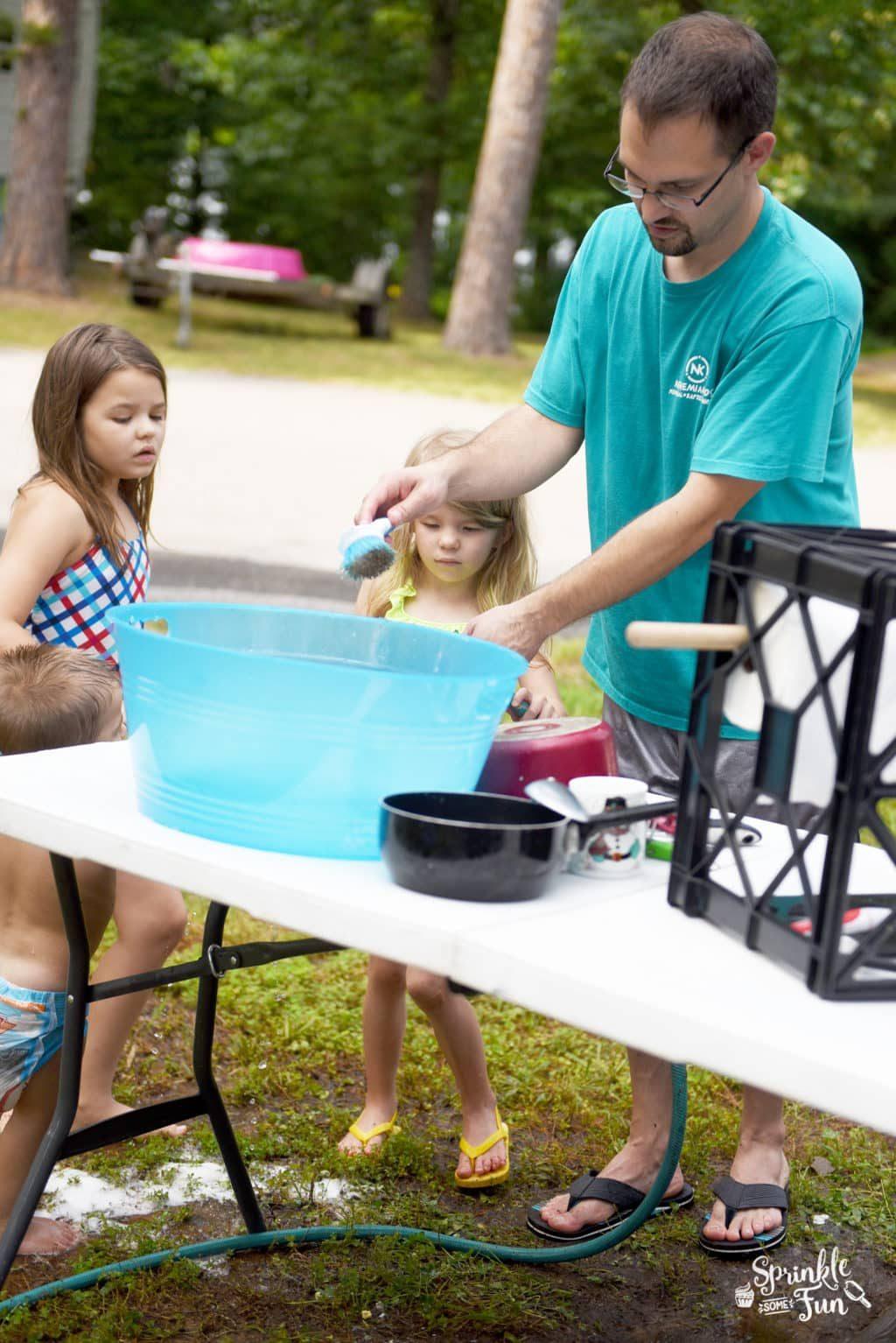 Dishwashing while camping