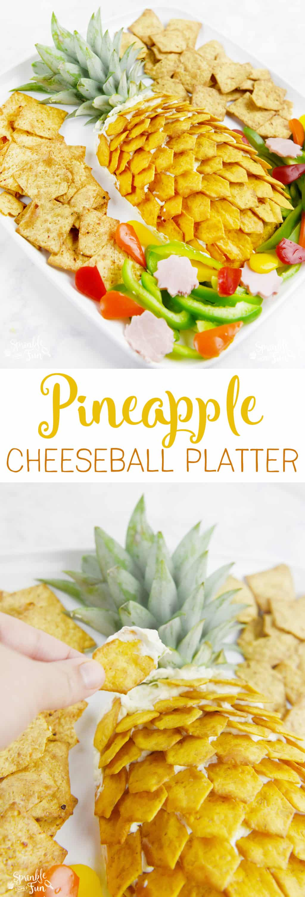 ThisPineapple Cheeseball Platter would be perfect to serve for any summer event. Everyone will love this delicious Hawaiian inspired dip!